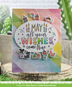 Lawn Fawn Intro: Simple Stripes: Diagonal, Simple Stripes: Landscape, Simple Stripes: Portrait and Giant Birthday Messages - Lawn Fawn Birthday Messages, Birthday Cards, Birthday Wishes, Happy Birthday, All You Need Is, Lawn Fawn Blog, Lawn Fawn Stamps, Rainbow Paper, Send A Card
