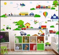 Image result for kids bedroom murals with vehicles