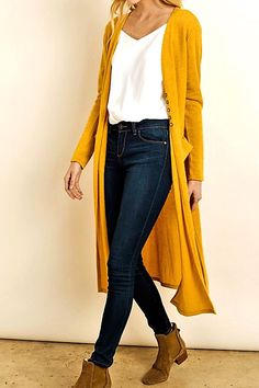 Style Maiden Lane Duster Cardigan - La BellaVida Women's Clothing - Today's Fashions Today's women's Mode Outfits, Casual Outfits, Fashion Outfits, Fashion Trends, Yellow Cardigan Outfits, Mustard Cardigan Outfit, Winter Cardigan Outfit, Mustard Yellow Outfit, Mustard Sweater