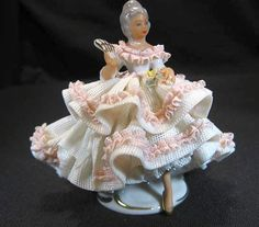 Dresden Lady Pretty In Pink Lace Marked Dresden, Free Ship