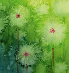 Watercolor dandelions for children. Includes masking or crayon resist and multiple watercolor techniques.