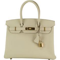 Pre-Owned Hermes Handbag Birkin 30 Epsom  Craie Gold Hardware 2015. ($18,787) ❤ liked on Polyvore featuring bags, handbags, craie, multi color purse, hermes purse, hermès, beige bag and hermes handbags