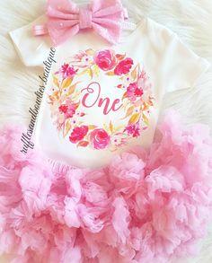 Girls ONE First Birthday Hot Pink Summer Floral Boho Wreath Birthday Onesie