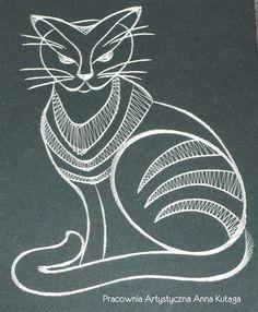 Stiching card cat by Anna Kułaga - base of the bobbin lace pattern.