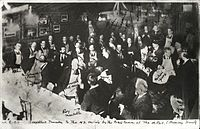 Armory Show artists and members of the press at the beefsteak dinner given by the Association of American Painters and Sculptors, 8 March 1913. Percy Rainford, photographer. Walt Kuhn family papers and Armory Show records, Archives of American Art, Smithsonian Institution