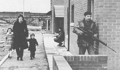 A British Army patrol in Northern Ireland during The Troubles.
