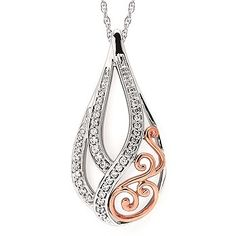"""1/5 Ctw. Diamond Open Scroll Tear Drop Pendant In 14K Rose & White Gold With 18"""" Chain"""