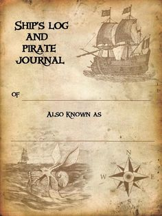 "Pirates: ""Ship's Log and Pirate Journal."" Free journaling pages to downoad and print. Pirate Birthday, Pirate Theme, Pirate Party, Teach Like A Pirate, Homemade Pirate Costumes, Pirate Crafts, Pirate Halloween, Images Vintage, Mermaids And Mermen"