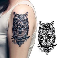 Temporary Tattoos large black Owl Tattoo Sticker Leg Arm Tattoo Body Art Stickers Waterproof designs - Katie S. Large Temporary Tattoos, Fake Tattoos, Great Tattoos, Trendy Tattoos, Black Tattoos, Body Art Tattoos, Girl Tattoos, Tattoos For Women, Sleeve Tattoos