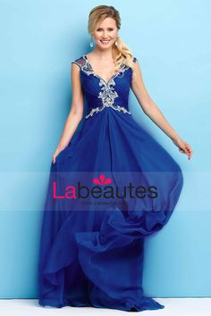 2015 V-Neck Prom Dresses Ruched Bodice A-Line Chiffon And Tulle