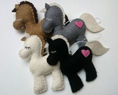 Wool felt pony decoration for babyroom horse ornament for
