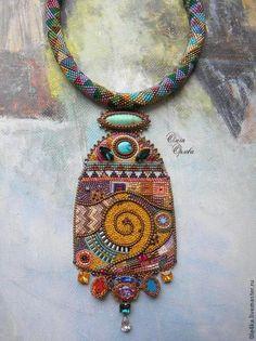 """Кулон """"По Климту"""" - разноцветный,ольга орлова,Климт,кулон на жгуте,хризопраз"""