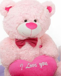 He Loves Me! is a Bear Hug Care Package featuring Lulu Shags holds a hot pink I love you valentines day heart Happy Teddy Day Images, Happy Teddy Bear Day, Teddy Bear Images, Teddy Bear Pictures, Cute Teddy Bears, Bear Pics, Love Quotes Wallpaper, Bear Wallpaper, Teddy Day Wallpapers