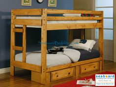 Solid pine construction for durability, the Amber Wash finish offers a warm and comforting feel. The under bed storage option allows space for extra linens, clothing, or toys within the two storage drawers. The lower bunk features a 300 lb. weight limit, while the top bunk features a 200 lb. weight limit. Whether your children share a room or you are looking for a fun inviting style, this bunk bed will meet your needs.
