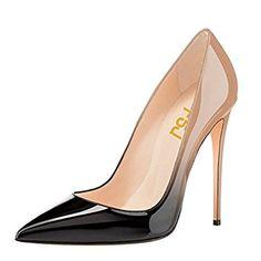 FSJ Women Pointed Toe Pumps Gradient High Heel Stiletto Sexy Slip On Dress Shoes Size 9.5 Black-Nude