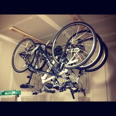 Hanging bikes in the garage
