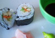 First attempt at home sushi went better than expected! Marinated tofu & cucumber roll. #vegan