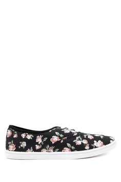 Style Deals - A pair of lace-up plimsols crafted from floral print canvas.