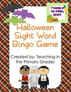 Practice sight words and celebrate Halloween at the same time.  This pack has 30 Bingo boards in both color and black and white featuring the first grade Dolch sight words. $