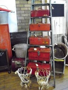 Display of red metal tool boxes * Junkin Addict