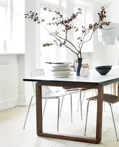 The lovely table from Bolia. I just hope my kids won't scratch the surface too badly. Decor, Living Room, Furniture, Interior, Dining Table, Table, Home Decor, Indoor, Nordic Living