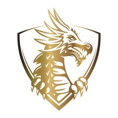 Vector: Gold vector head of a dragon in the form of a shield illustration, print, emblem design on a white background. Dragon Head Tattoo, Cool Symbols, Shield Vector, Dragon Shield, Aquarius Tattoo, Head Tattoos, Animal Logo, Logo Design Inspiration, Mythical Creatures