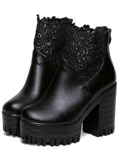 Black Chunky High Heel Lace Pumps 36.67