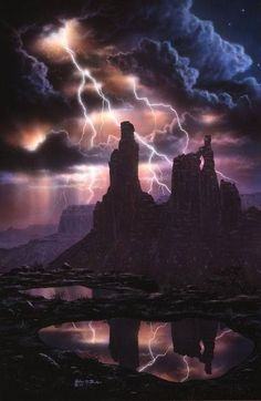 """""""Gift Of An Angry Sky"""" by John Foster: A powerful lightning storm dwarfs the towering form of Washer Woman Arch in Utah's canyonlands National Park leaving behind precious but fleeting pools of water. All Nature, Science And Nature, Amazing Nature, Tornados, Thunderstorms, Natural Phenomena, Natural Disasters, Lightning Drawing, Thunder And Lightning"""