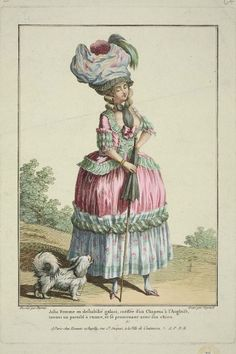 """Gallerie des Modes, 1778. """"Jolie femme in deshabille…"""" A pretty woman in undress. (With a giant umbrella!)"""