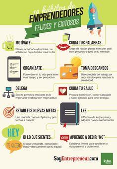 #Infografía con 10 hábitos de los #emprendedores felices y exitosos #entrepreneurship