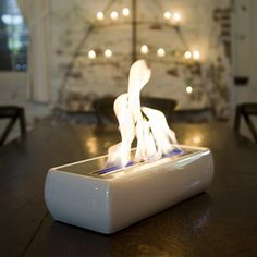 Modern Portable Fireplace For Dining Table Set In White Stylish And Futuristic Design With Eclectic Living Room Wooden Coffee Table Tabletop Fireplaces, Home Fireplace, Ethanol Fireplace, Faux Fireplace, Small Fireplace, Fireplace Design, Indoor Fireplaces, Fireplace Drawing, Fireplace Candles
