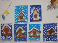 Mangeoire pour oiseaux en hiver: travail de découpage, collage, dessin des oiseaux et peinture blanche. CP décembre