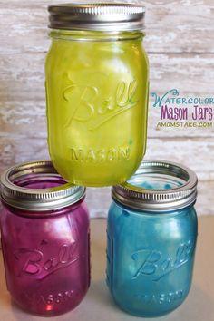 Watercolor mason jars