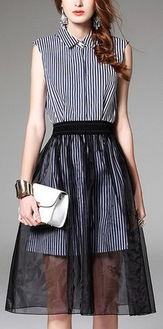 Twin Set Striped Cotton Dress with Tulle Skirt