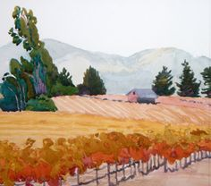 Sonoma Mornig Haze 12 x 12 robin purcell , watercolors in the plein air tradition