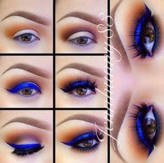How To Do Electric Blue Eyeshadow Tutorial For Brown Eyes | Quick and Easy Everyday Makeup Tips For Dark Eyes By Makeup Tutorials. http://makeuptutorials.com/13-best-eyeshadow-tutorials-brown-eyes/