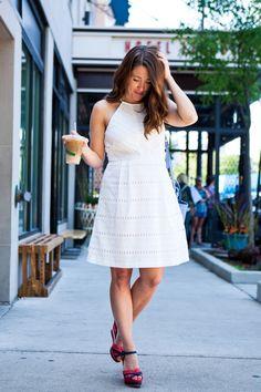 White eyelet lace directional stripe dress
