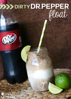 A Twist on the popular drink - A Dirty Dr. Pepper Float made with Coconut Ice Cream! #dessert #recipe