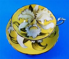 White Orchid on Yolk Yellow Paragon Tea Cup and Saucer Set