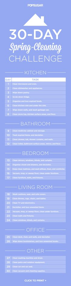 30 day spring cleaning challenge. Click for your downloadable PDF!