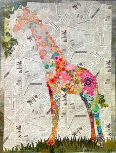 Fiberworks Laura Heine Collage Potpourri Giraffe on Newsprint Quilting Projects, Quilting Designs, Art Projects, Quilt Inspiration, Laura Heine, Magazine Deco, Quilt Modernen, Animal Quilts, Applique Quilts