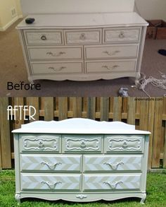 Before and After, dresser redo by Anew Nature, St. Louis based furniture upcycling business, shabby chic, french provincial, retro glam furniture. White and cream herringbone chevron dresser