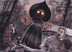 September 12 th a report of an unidentified extraterrestrial seen in Flatwoods, Braxton County West Virginia. Flatwood Monster, Ufo, Close Encounters, Alien Encounters, Mothman, Alien Art, Comic, Urban Legends, Ancient Aliens