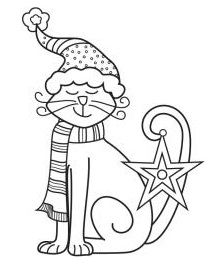 Hampton Art - Wood Mounted Stamp by Outlines - Christmas Cat