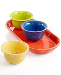 The vibrant colors in this mixed 4-piece entertaining set from Fiesta add plenty of fun flair to your tabletop.   Fully vitrified china with lead-free glaze   Dishwasher, microwave and oven safe   Mad