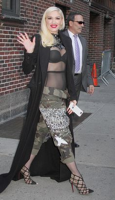 Gwen Stefani from The Big Picture: Today's Hot Pics  The beautiful singer arrives atThe Late Show with Stephen Colbert studio in an edgy look and hersignature red lips.
