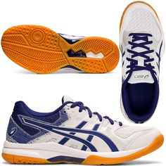 Face down any opponent in the women's GEL-ROCKET™ 9 indoor sports shoe by ASICS. With forefoot GEL® technology for shock absorption and lasting comfort, this versatile shoe has the features you need to put in an outstanding performance. Extra cushioning is provided by the springy EVA midsole, with added rebound properties to give you a real boost as you race across court. All Volleyball, Gel Cushion, Asics Women, Rebounding, Sports Shoes, Under Armour, Blue And White, Indoor, Technology