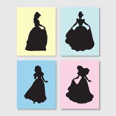 Girl's room decor - Wall Art Quad - Disney Princess Silhouette Quad - Nursery Art - 8 x 10