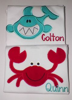 Twinsy Boy Twins First Birthday onesie Crab Shark by AuntieDonnas, $35.00