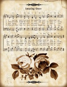 Amazing Grace and Roses Christian Sheet Music Hymn Hymnal Vintage Sheet Music, Piano Sheet Music, Music Sheets, Sheet Music Tattoo, Sheet Music Crafts, Church Songs, Church Quotes, Etiquette Vintage, Christian Songs